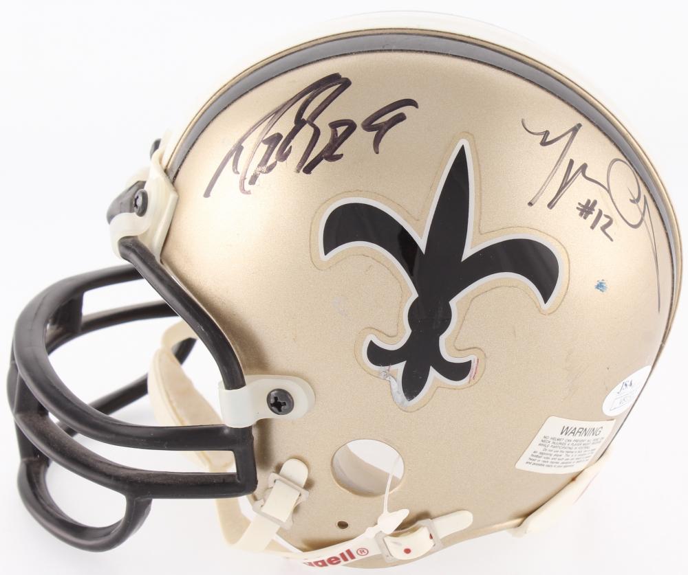 680a0074e Drew Brees   Marques Colston Signed Saints Mini Helmet (JSA COA)