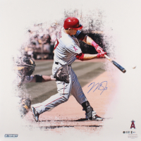 Mike Trout Signed Angels 24x24 Metallic Photo (Steiner COA & MLB Hologram)
