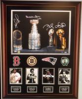"Tom Brady, David Ortiz, Larry Bird & Bobby Orr Signed LE ""Boston Champions"" 27x35 Custom Framed Display (Steiner COA)"