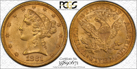 1881 $5 Five Dollars Liberty Head Half Eagle Gold Coin (PCGS Gold Shield MS 62)