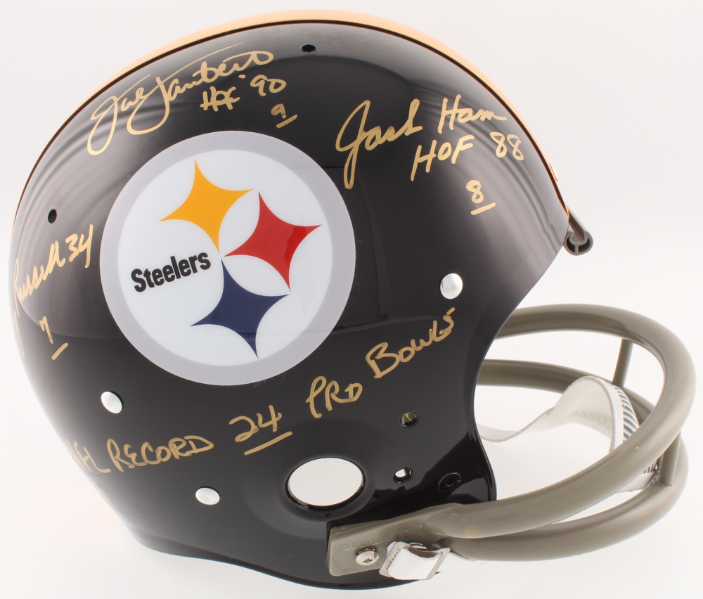 280f3f5c751 Jack Lambert, Jack Ham & Andy Russell Signed Steelers Full-Size TK  Suspension Helmet Inscribed