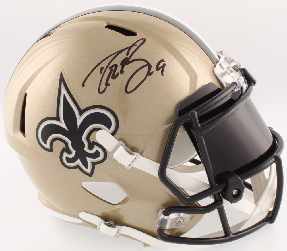 24e0e8d6b1b Drew Brees Signed Saints Full-Size Speed Helmet With Visor (Beckett COA)