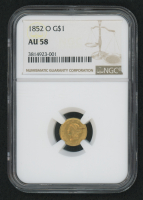1852-O $1 One Dollar Liberty Head Gold Coin (NGC AU 58)