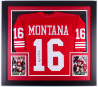 Joe Montana Signed 49ers 31x35 Custom Framed Jersey (JSA COA)
