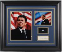 Ronald Reagan 19.5x23.5 Custom Framed Cut Display with (1) Hand-Written Word From Letter (Beckett LOA Copy)