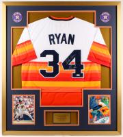 "Nolan Ryan Signed Astros 34x38 Custom Framed Jersey Display Inscribed ""The Ryan Express"" (PSA COA)"