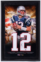 Tom Brady Signed Patriots 23x35 Custom Framed Jersey Number Display (UDA COA)