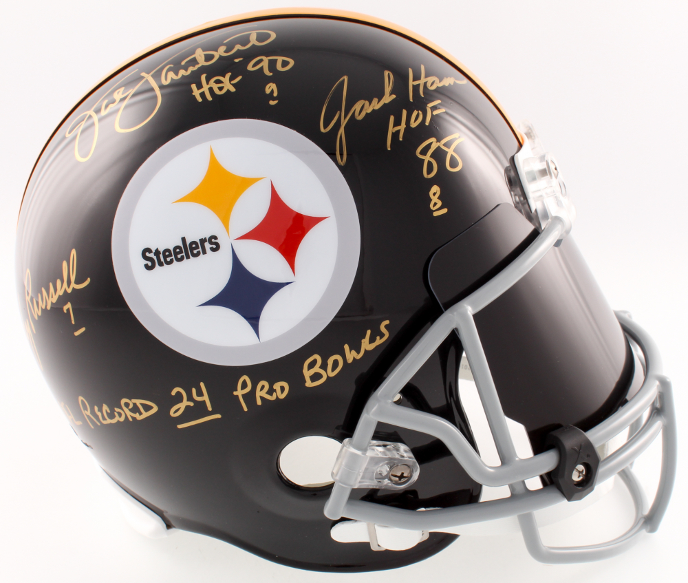 1ed4e53390f Jack Lambert, Jack Ham & Andy Russell Signed Steelers Full-Size Helmet  Inscribed