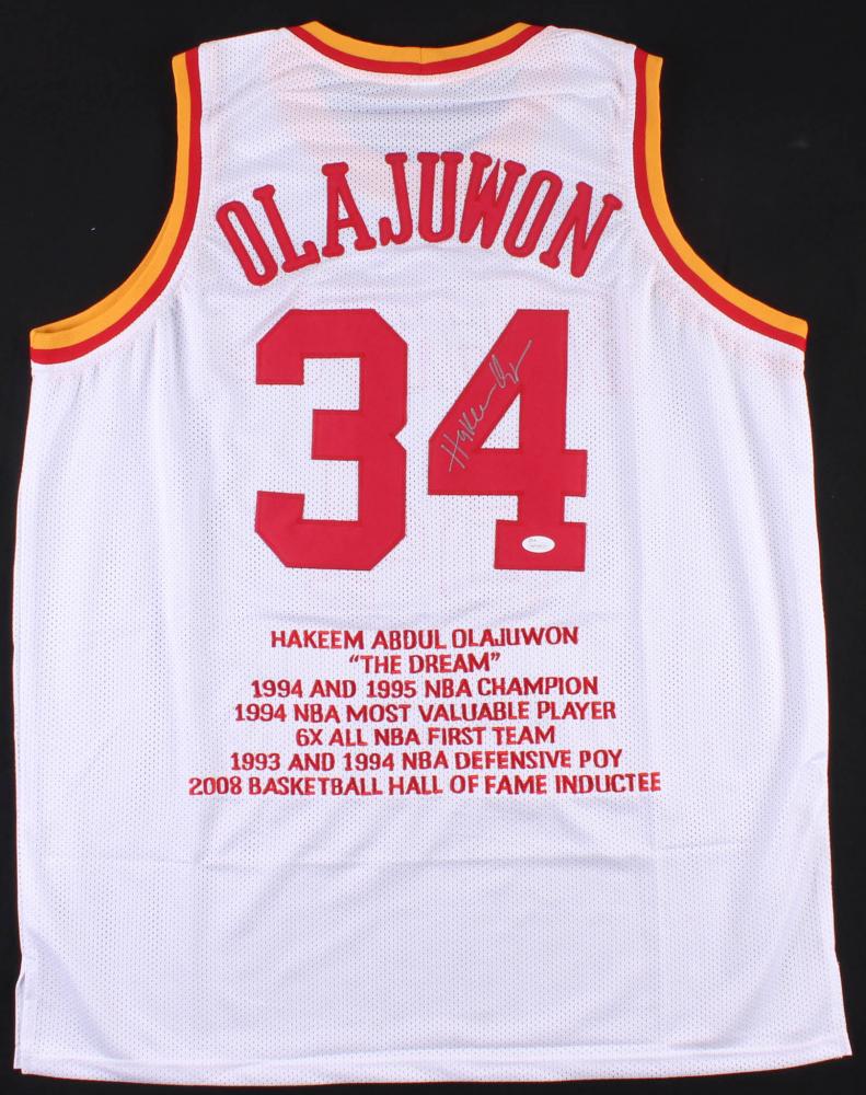 70aec78d9 Hakeem Olajuwon Signed Rockets Career Highlight Stats Jersey (JSA COA) at  PristineAuction.com