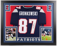Rob Gronkowski Signed Patriots 35x43 Custom Framed Jersey (Beckett COA)