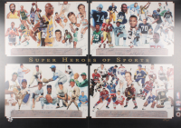 """Super Heroes of Sports"" 30.5x42.75 George Bungarda Lithograph Signed by (60) With Jerry West, Kareem Abdul-Jabbar, Steve Van Buren, Dick Butkus, Dick Lane, Jim Brown, Bobby Hull, Stan Mikita, Jean Beliveau, Frank Mahovlich, Bernie Geoffrion (JSA LOA)"