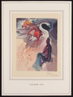 """Salvador Dali Signed 12.5x17 """"The Divine Comedy: Heaven Canto 19 Language of the Birds"""" Custom Matted Print Display (PA LOA)"""