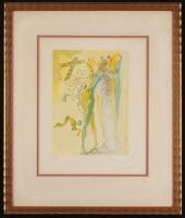 "Salvador Dali Signed 16.75x19.5 ""The Divine Comedy: Heaven Canto 15 Great Grandfather"" Custom Framed Print Display (PA LOA)"