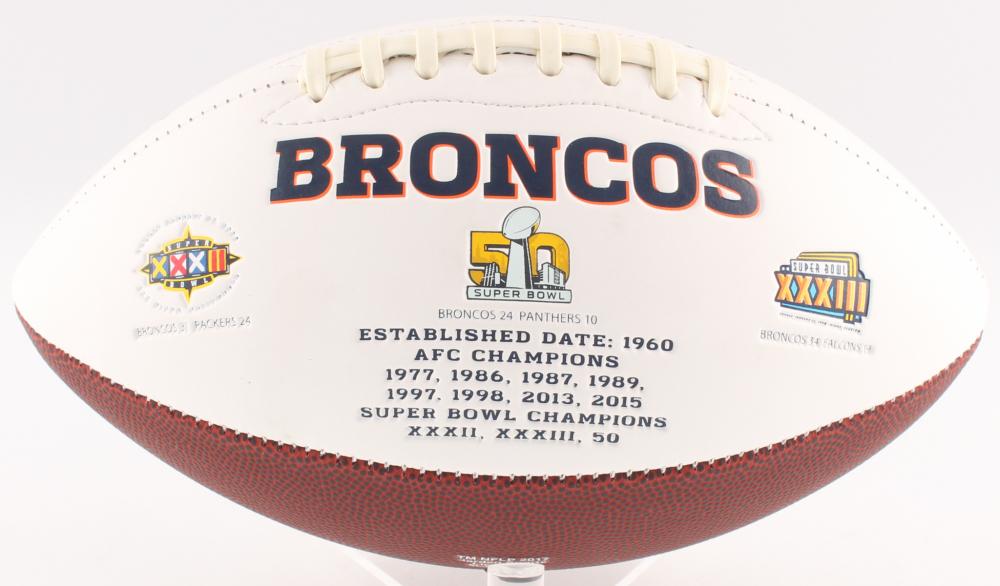 303fc3cbfd9 Peyton Manning & John Elway Signed Broncos Logo Football (JSA ALOA) at  PristineAuction.