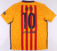 """Lionel """"Leo"""" Messi Signed 2015-2016 Barcelona Away Jersey (Messi COA)"""