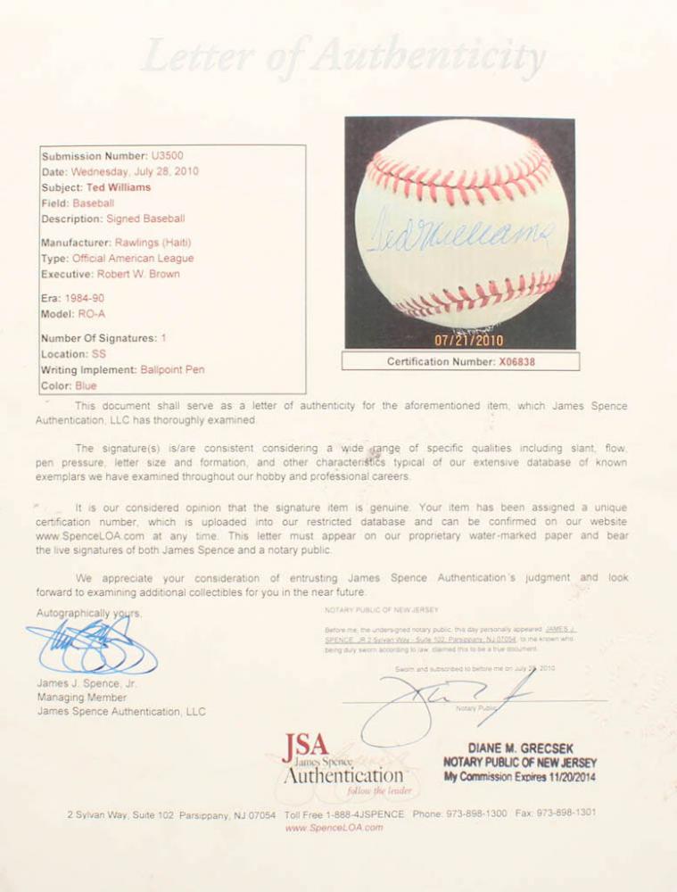edc80b8c866 Ted Williams Signed OAL Baseball (JSA LOA) at PristineAuction.com. Rawlings Official  American League ...