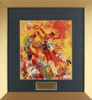Julius Erving Signed 14x15 LeRoy Neiman Art Print Custom Framed Display (PSA COA)