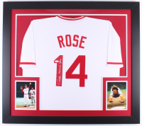Pete Rose Signed Reds 31x35 Custom Framed Jersey (JSA COA)