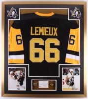 Mario Lemieux Signed Penguins 34x48 Custom Framed Cut Display (PSA COA)