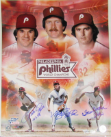 Pete Rose, Mike Schmidt & Steve Carlton Signed Philadelphia Phillies 16x20 Photo with Inscriptions (Fanatics Hologram & MLB Hologram)