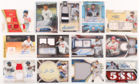 Lot of (13) Assorted Baseball Cards with 2018 Topps Museum Collection #AANS Noah Syndergaard, 2018 Topps Tribute Triple Relics #TTRMTR Mike Trout, and 2017 Topps Triple Threads Relic Autographs #TTARDP1 David Price