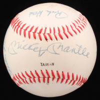 Yankees Logo Baseball Signed by (9) Legends with Mickey Mantle, Whitey Ford, Enos Slaughter, Ralph Houk (JSA LOA)