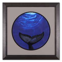 "Wyland Signed ""Whale Tail (Blue)"" 30x30 Custom Framed Original Watercolor Painting at PristineAuction.com"