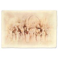 "Brachi Horen Signed ""Simchat Torah"" 23x15 Hand-Embellished Mixed Media with Goldleaf at PristineAuction.com"