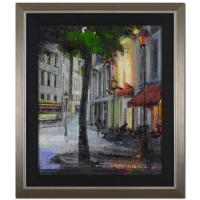 "Alex Zwarenstein Signed ""Last Light Cafe"" 26x30 Custom Framed Original Oil Painting on Canvas"