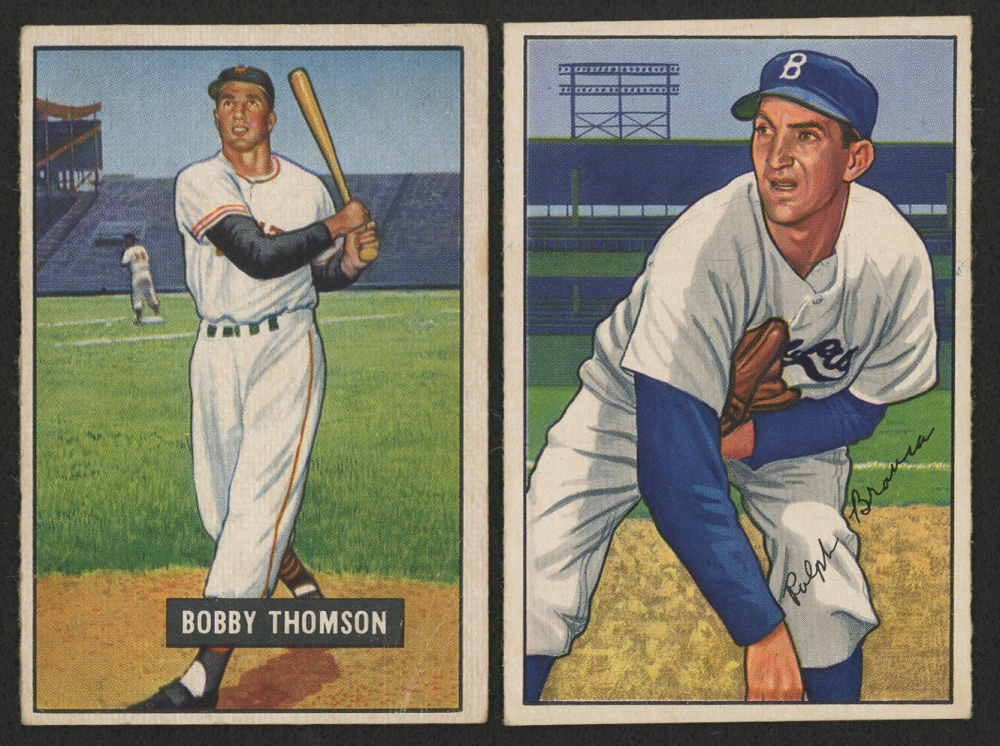 Lot Of 2 Baseball Cards With 1951 Bowman 126 Bobby Thomson 1952 96 Ralph Branca