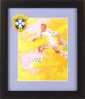 """LeRoy Neiman """"Pele"""" 13x15 Custom Framed Print Display with Brazilian Patch at PristineAuction.com"""
