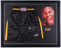 Mike Tyson Signed 30x38 Custom Framed Shorts Display (PSA COA)