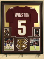 Jameis Winston Signed 34x42 Custom Framed Jersey Display (JSA COA) at PristineAuction.com