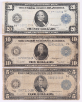 Lot of (3) 1914 Federal Reserve Bank Notes with $5, $10 & $20