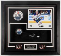 "Connor McDavid Signed Oilers ""1st NHL Goal"" 23x25x3 Custom Framed Shadowbox Display (JSA COA) at PristineAuction.com"