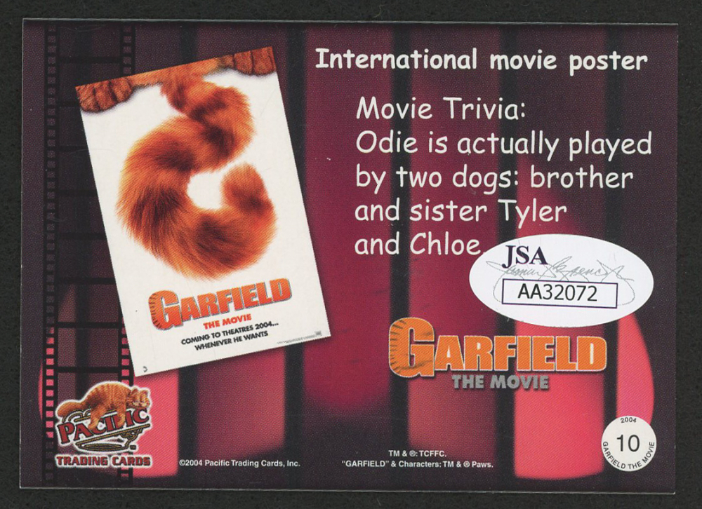 Jim Davis Signed 2004 Garfield Collection Garfield The Movie 10 International Movie Poster Jsa Coa Pristine Auction