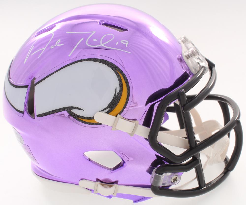 838965596c5 Adam Thielen Signed Vikings Speed Custom Purple Chrome Mini-Helmet (Beckett  COA)