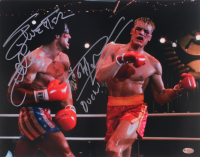 "Sylvester Stallone & Dolph Lundgren Signed 11x14 Photo Inscribed ""OUCH!"" (Online Authentics COA)"