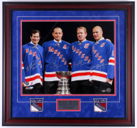 Rangers 26x27.75 Custom Framed Photo Display Team-Signed by (4) with Mark Messier, Brian Leach, Mike Richter & Adam Graves (Steiner COA) at PristineAuction.com