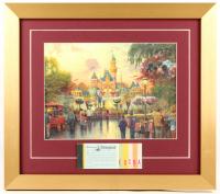 Thomas Kinkade Disneyland 15x17 Custom Framed Print Display with Vintage Ticket Booklet