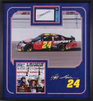 Jeff Gordon Signed NASCAR 25.25x27.25 Custom Framed Index Card Display (BGS Encapsulated)
