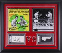 George Foreman & Muhammad Ali Signed 23.5x27.5 Custom Framed Signature Cuts Display (PSA Encapsulated)