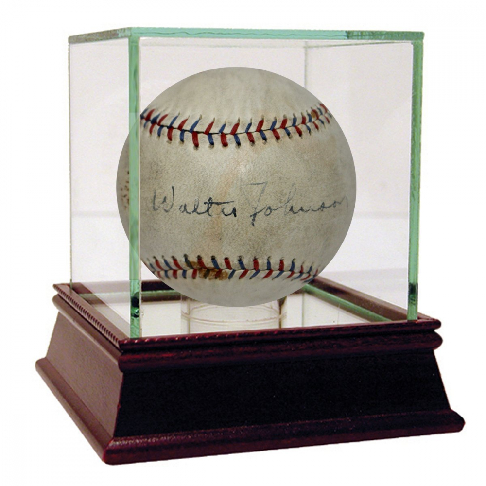 Walter Johnson Signed University League Baseball with Display Case (PSA & JSA LOA) at PristineAuction.com