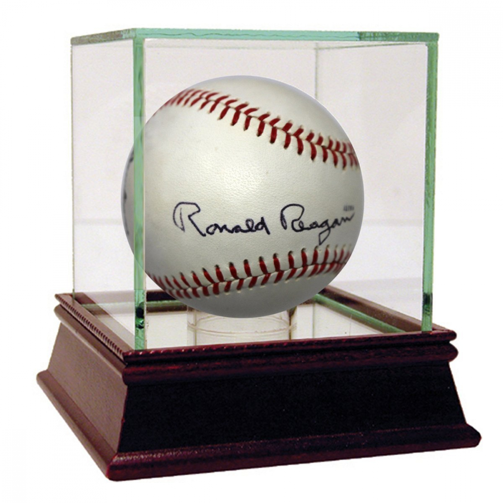 Ronald Reagan Signed Davey Lopes Autograph Model Baseball with Display Case (JSA LOA) at PristineAuction.com
