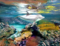 "Raul Basutro Signed ""Flipper Legend"" 31x39 Original Oil Painting on Canvas (PA LOA)"