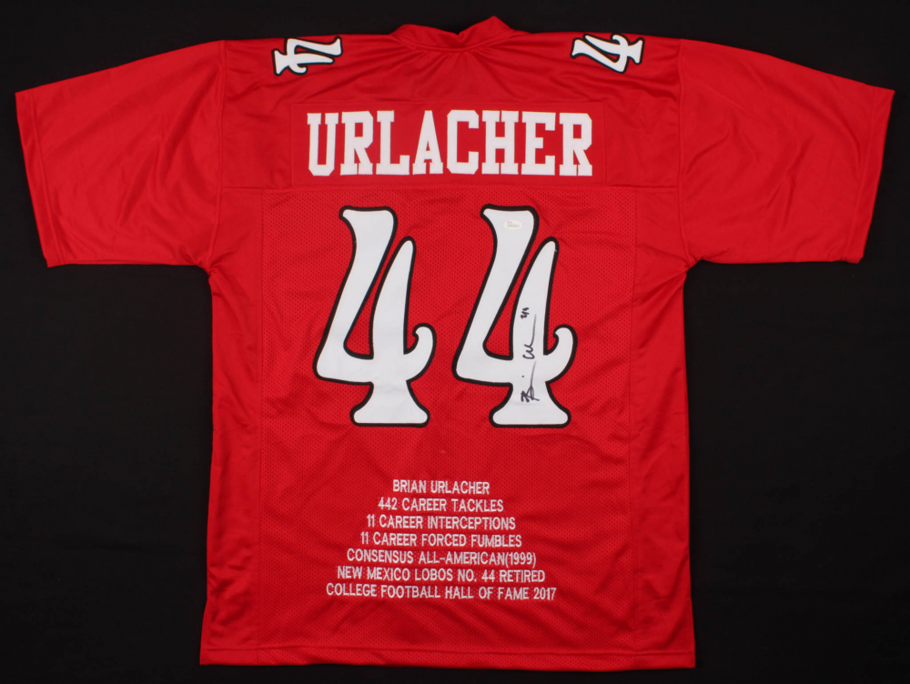 8337e1b1c1a Brian Urlacher Signed New Mexico Lobos Career Highlight Stat Jersey (JSA  COA) at PristineAuction