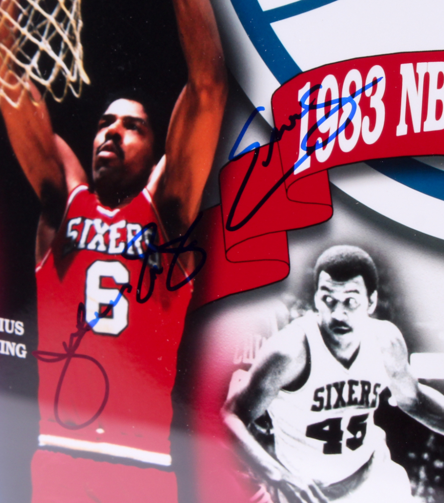 4939f7282c8e 1983 NBA Champion 76ers Signed 17x20.5 Custom Framed Photo Display  Team-Signed by