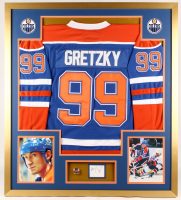 Wayne Gretzky Signed Oilers 34x38 Custom Framed Cut Display with Championship Ring (JSA COA)