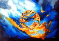"Eder Manero Signed ""Waves of Fire"" 31x43 Original Oil Painting on Canvas (PA LOA)"