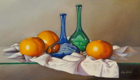 "Hugo Zavaleta Signed ""Tangerines and Bottles"" 32x50 Original Oil Painting on Canvas (PA LOA)"